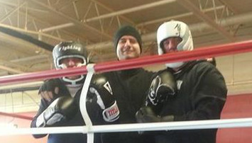 Me, my coach Ilir, and a good friend and sparring partner, Chris, celebrating another year of boxing. Image courtesy Ilir Ymeri