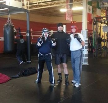 Another shot of me with Ilir and another sparring partner, Virgilio. Courtesy of Ilir Ymeri. Taken at Quietman Sports.